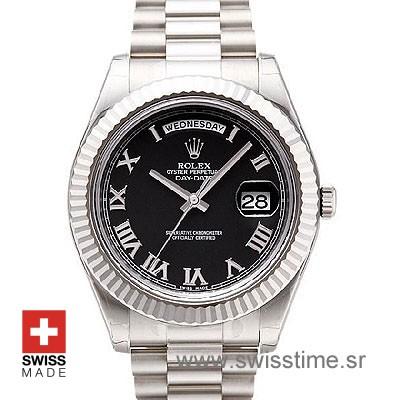 Rolex Day-Date II SS Black Roman-0