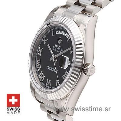 Rolex Day-Date II SS Black Roman-1225
