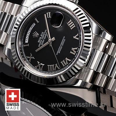 Rolex Day-Date II SS Black Roman-1227