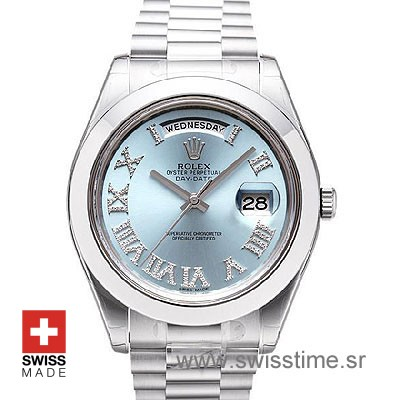 Rolex Day-Date II SS Blue Roman Diamonds-0