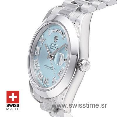 Rolex Day-Date II SS Blue Roman Diamonds-1250