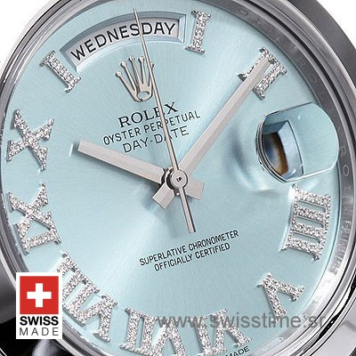 Rolex Day-Date II SS Blue Roman Diamonds-1251