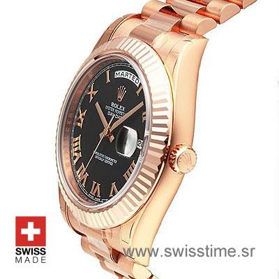 Rolex Day-Date II Rose Gold Black Roman-1187