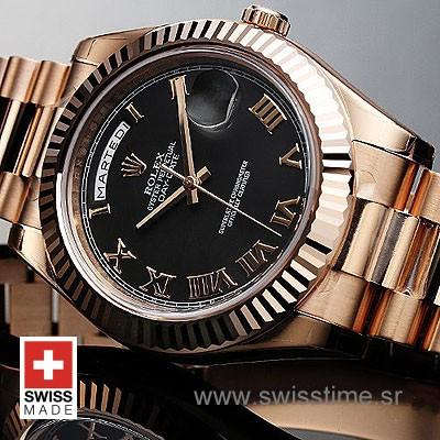 Rolex Day-Date II Rose Gold Black Roman-1189