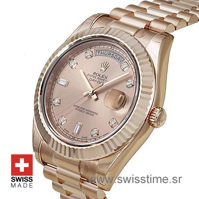 Rolex Day-Date II Rose Gold Gold Diamonds-1193