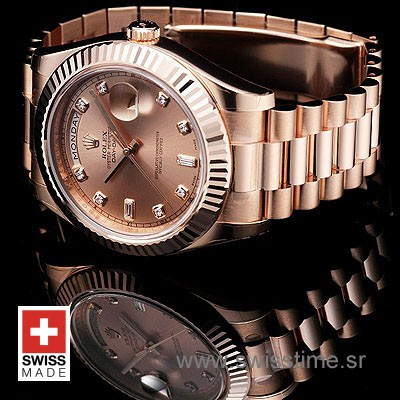 Rolex Day-Date II Rose Gold Gold Diamonds-1194