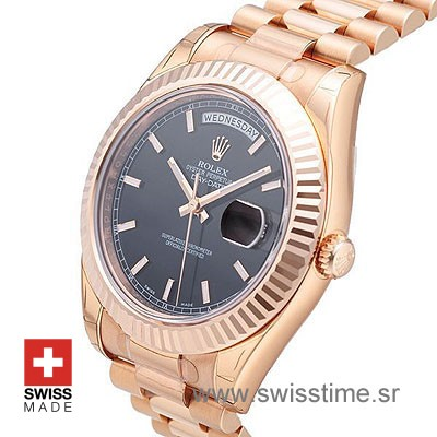 Rolex Day-Date II Rose Gold Black-1176