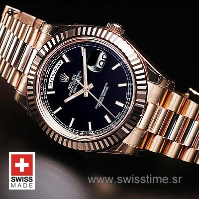 Rolex Day-Date II Rose Gold Black-1178