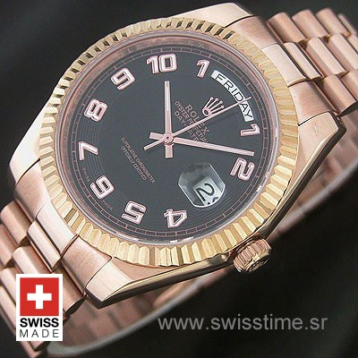 Rolex Day-Date II Rose Gold Black Arabic-1182