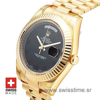 Rolex Day-Date II Gold Black Arabic-1132
