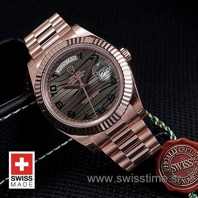 Rolex Day-Date II Rose Gold Wave-1205