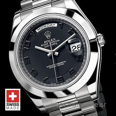 Rolex Day-Date II SS Black Arabic-1214