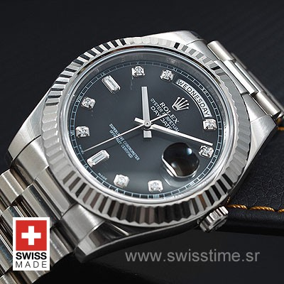 Rolex Day-Date II SS Black Diamonds-1219