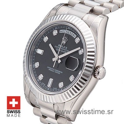 Rolex Day-Date II SS Black Diamonds-1218