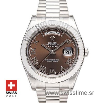 Rolex Day-Date II SS Brown Roman-0