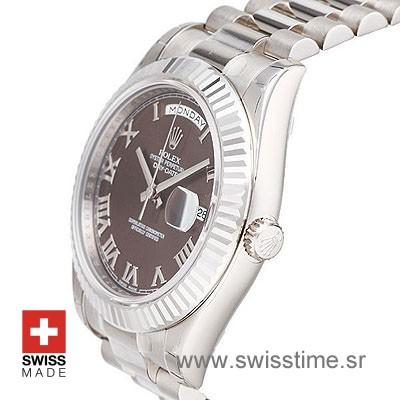 Rolex Day-Date II SS Brown Roman-1262