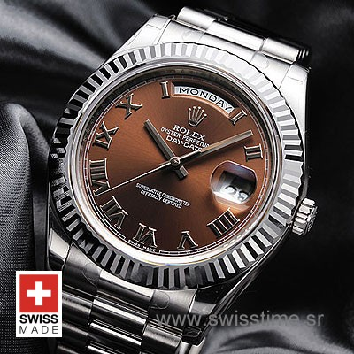 Rolex Day-Date II SS Brown Roman-1265