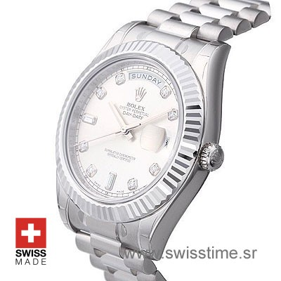 Rolex Day-Date II SS Silver Diamonds-1276