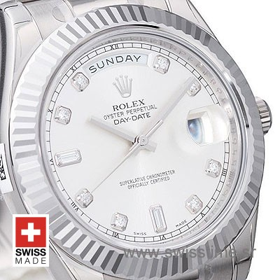 Rolex Day-Date II SS Silver Diamonds-1277