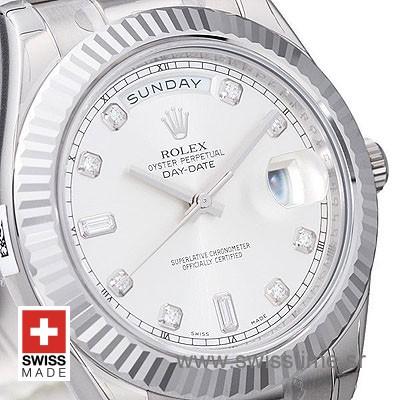 Rolex Day-Date II SS Silver Diamonds-1277