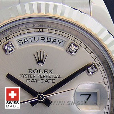 Rolex Day-Date II SS Silver Diamonds-1278