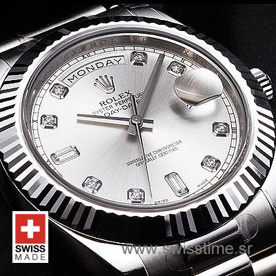 Rolex Day-Date II SS Silver Diamonds-1279