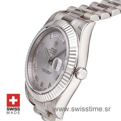 Rolex Day-Date II SS Silver Roman-1283