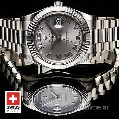 Rolex Day-Date II SS Silver Roman-1285