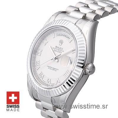 Rolex Day-Date II SS White Roman-1289