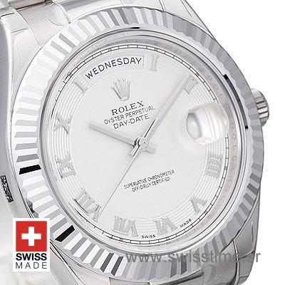 Rolex Day-Date II SS White Roman-1290