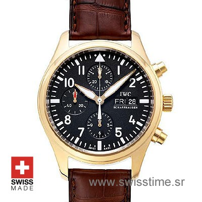 IWC Pilot Chrono Rose Gold Leather