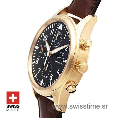 IWC Pilot Chrono Rose Gold Leather-511