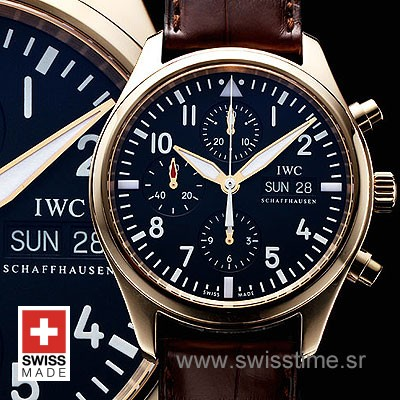 IWC Pilot Chrono Rose Gold Leather-512