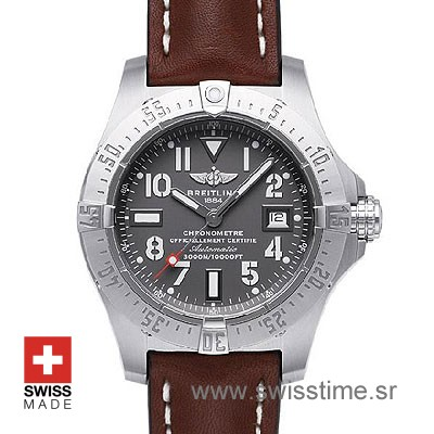 Breitling Avenger Seawolf Leather SS Black Arabic