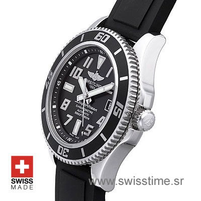 Breitling Superocean II Black Dail Rubber Strap   Swisstime