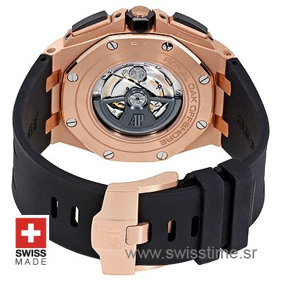 Audemars Piguet Royal Oak Offshore Novelty Chronograph 2017 Rose Gold Ceramic Black 44m Swiss Replica