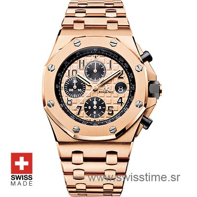 Audemars Piguet Royal Oak Offshore Rose Gold 2014 Pink Dial 42mm Swiss Replica