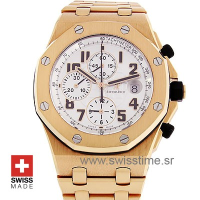 Audemars Piguet Royal Oak Offshore Rose Gold White Dial 42mm Swiss Replica