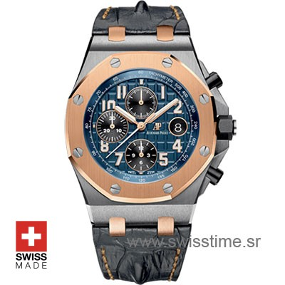Audemars Piguet Royal Oak Offshore 18K Rose Gold 2-tone Blue 42mm