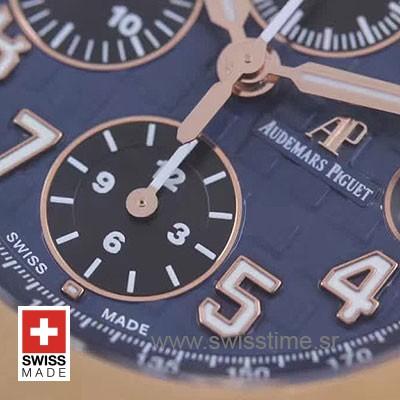 Audemars Piguet Royal Oak Offshore 18K Rose Gold 2-tone Blue 42mm