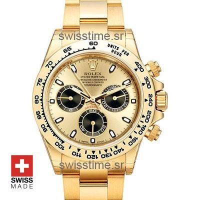 Rolex Daytona 18k Yellow Gold | Gold Panda Dial Replica watch