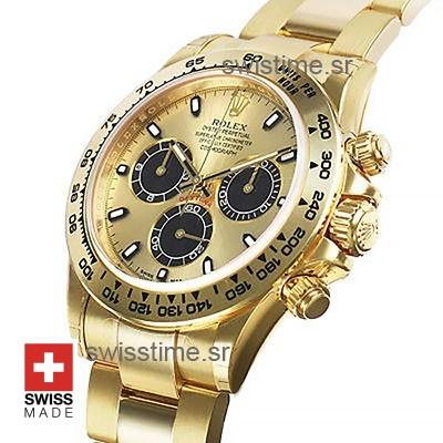 Rolex Daytona 18k Yellow Gold   Gold Panda Dial Replica watch