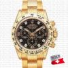rolex daytona yellow gold diamond black dial swiss replica