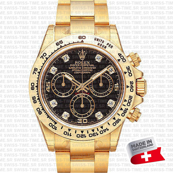 rolex daytona yellow gold diamond black dial swiss replica