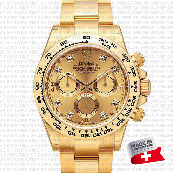rolex daytona yellow gold diamond gold dial swiss made replica