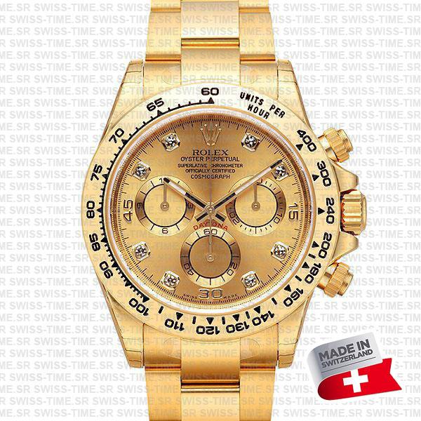 rolex daytona yellow gold diamond gold dial swiss made replica