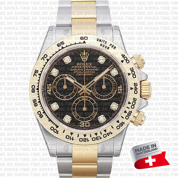 rolex daytona 2tone black diamond dial swiss replica 116503