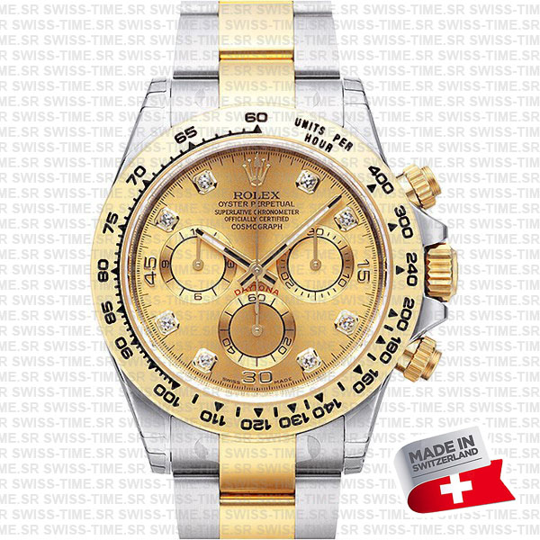 rolex daytona 2tone diamond gold dial swiss replica