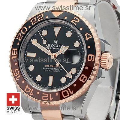 SWISSTIME ROLEX GMT MASTER II 18K ROSE GOLD 2-TONE OYSTER CERAMIC BEZEL BLACK DIAL 126711CHNR 40MM 10