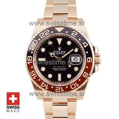 SWISSTIME ROLEX GMT MASTER II 18K ROSE GOLD CERAMIC BEZEL BLACK DIAL 126715CHNR 40MM 9